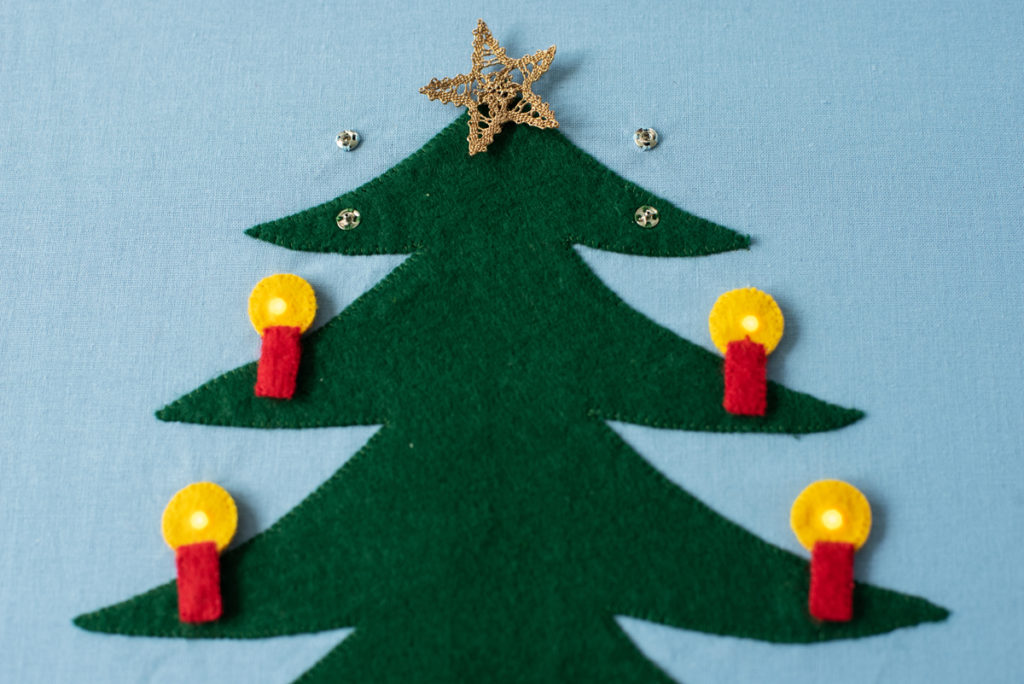 Page Christmas Tree with light-up candles